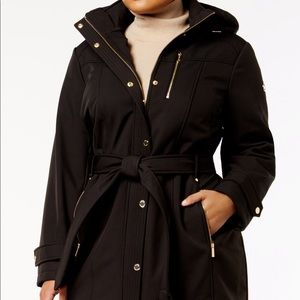 Plus size belted softshell coat